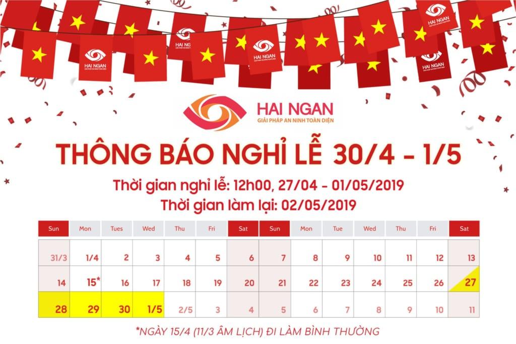 Hải Ngân: Thông báo nghỉ lễ 30/04 - 01/05 - 2019