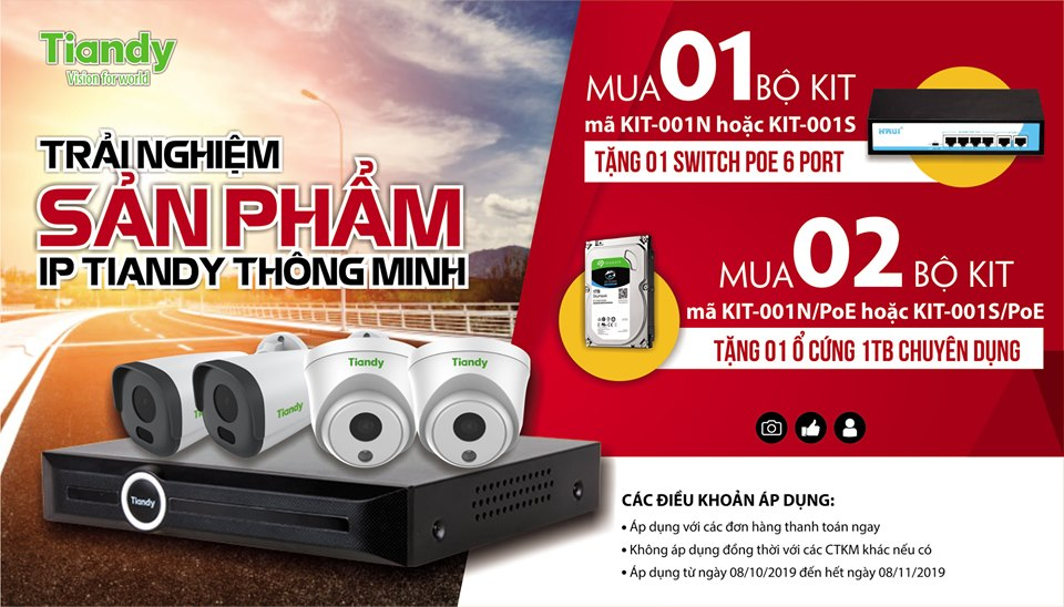 Bộ KIT 4 camera IP 2 MP Tiandy KIT-001N+switch POE