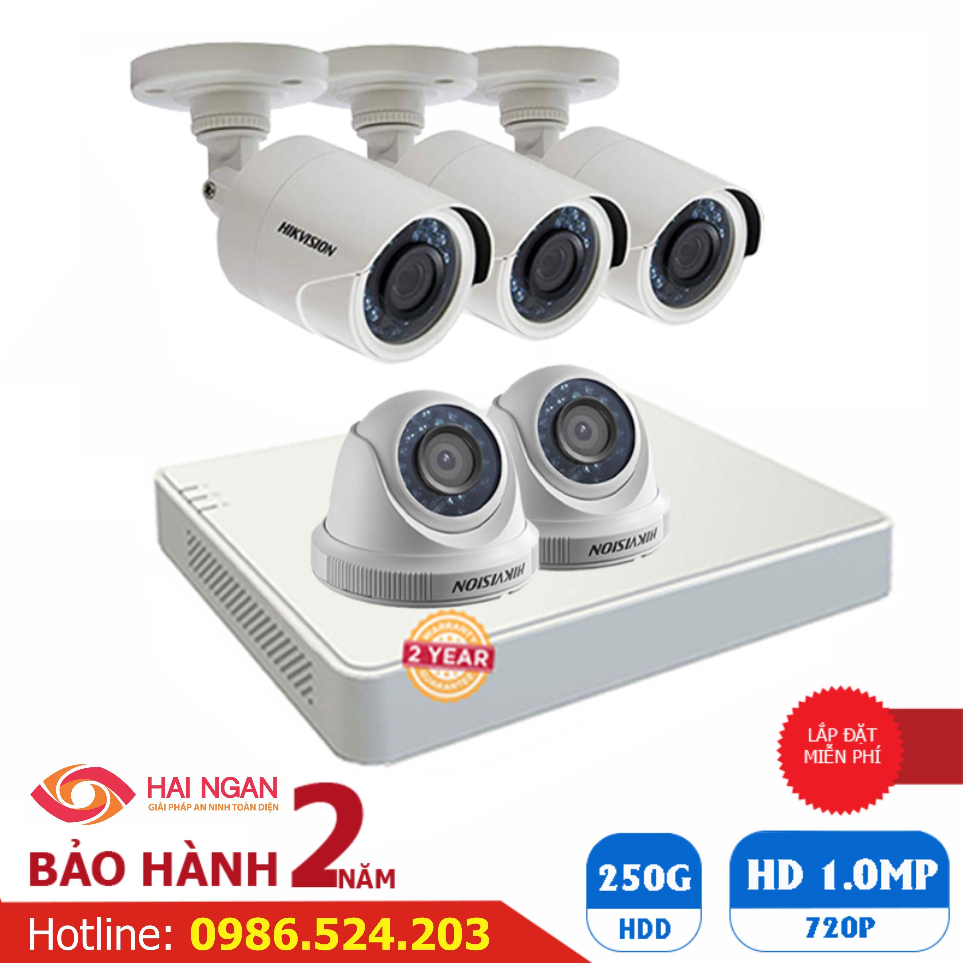 Lắp Đặt Trọn Bộ 05 Camera Giám Sát Hikvision HD HN-5CE565C0T